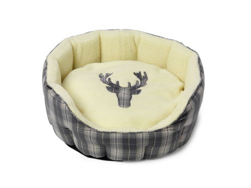 House Of Paws Grey Tweed Stag Bed Medum